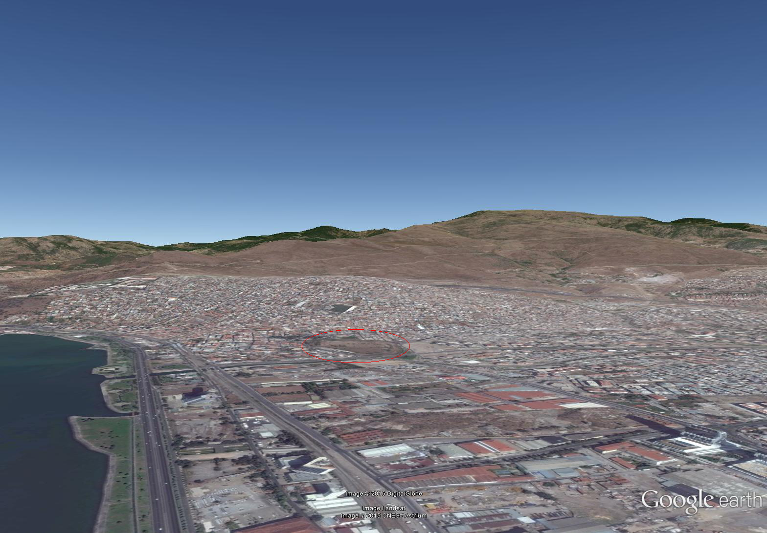 google earth view of Izmir with the hill of Old Smyrna